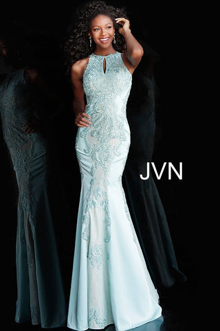 JVN55869  high neckline with keyhole embellished lace fitted long prom dress with cutout circle in back available in Light Blue, Blush, Royal Blue, Black, Charcoal. JVN 55869 Backless Mermaid Lace Prom Pageant Dress Formal Evening Gown Embellished High Neck Keyhole Cutout gown.
