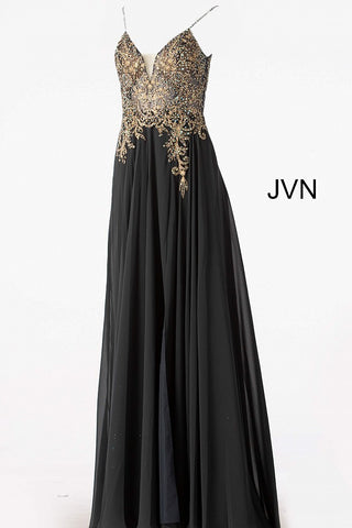 JVN55885 embellished bodice plunging neckline flowy chiffon a line prom dress available in Off White, Charcoal, Navy, Pink, Off White or Sky Blue