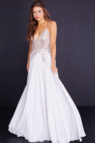 JVN by Jovani 55885 embellished bodice spaghetti straps prom dress ...