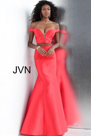 bd76b117016 JVN by Jovani 58068 off the shoulder two piece mermaid prom dress- –  GlassSlipperFormals