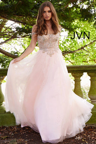 JVN by Jovani 58403 off the shoulder tulle prom ballgown-