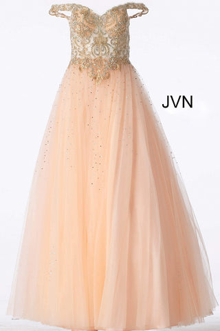 JVN58403 off the shoulder tulle prom dress ballgown features a sheer embellished bodice and full skirt.