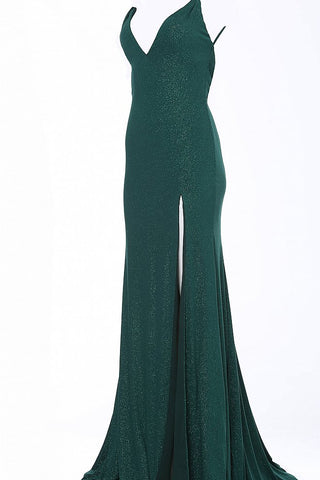 JVN58557  Emerald Double spaghetti straps that lead to a V in the open back stretch glitter jersey fitted prom dress evening gown with a train