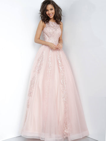JVN59046 Blush long prom dress with embellished lace applique front and back ball gown evening dress