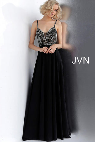 JVN by Jovani 59136 embellished bodice chiffon prom dress-