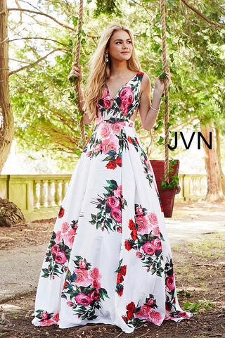 JVN by Jovani 59146 white multi floral print prom dress ...