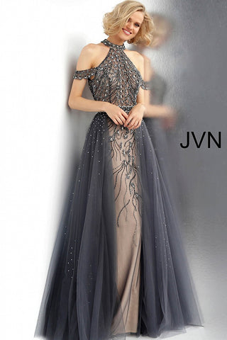 JVN by Jovani 60456 beaded cold shoulder prom dress