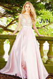 JVN60696 Blush embellished plunging neckline mikado a line prom dress ball gown evening gown pageant dress