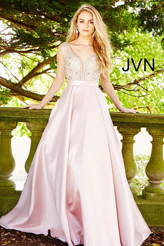 JVN by Jovani 60696 Embellished bodice a line prom dress Blush Size 6