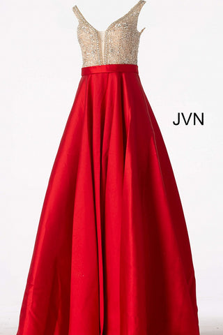 JVN60696 Red embellished plunging neckline mikado a line prom dress ball gown evening gown pageant dress