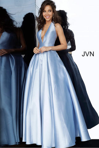 JVN60772 Light Blue Mikado prom ballgown, floor length full pleated skirt with pockets, sleeveless bodice, plunging halter neckline, open back.
