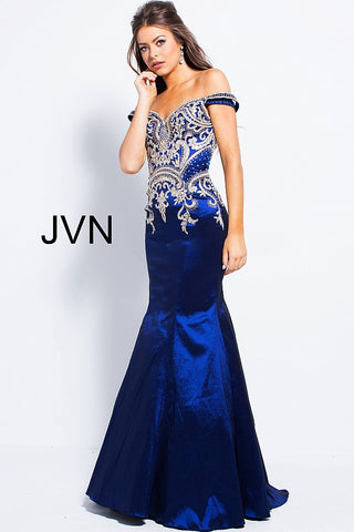 aee3cb1a3e7e6 JVN by Jovani 61193 Off the shoulder mermaid prom dress size 2 Navy –  GlassSlipperFormals