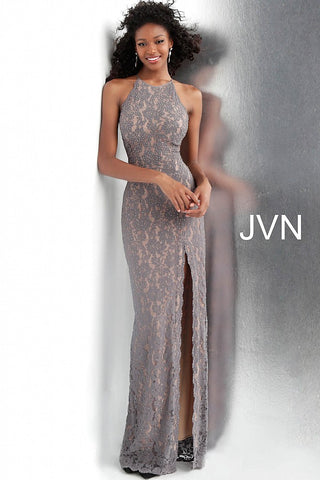 JVN by Jovani 61347 high slit embellished lace fitted prom dress