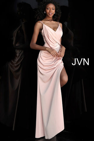 JVN by Jovani 61571 V Neck Spaghetti Straps Ruched Prom Dress