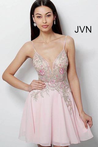 JVN by Jovani 61629 floral embroidered bodice short chiffon homecoming dress-