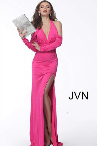 JVN by Jovani 61841 off the shoulder long sleeve prom dress