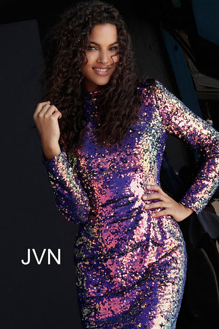 JVN by Jovani 62310 long sleeve sequin Short Cocktail Dress Party High neck