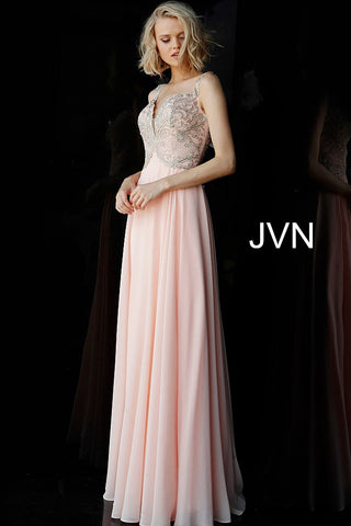 Jovani JVN62321 off the shoulder chiffon prom dress evening gown peach sheer
