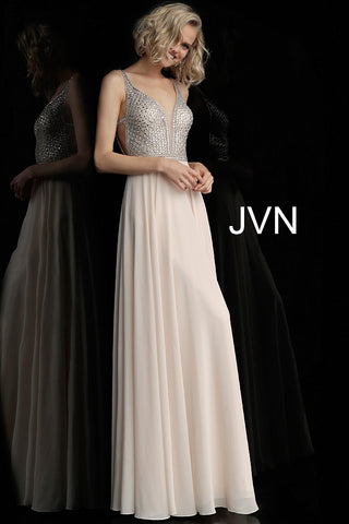 JVN by Jovani 62409 sleeveless embellished bodice long prom dress