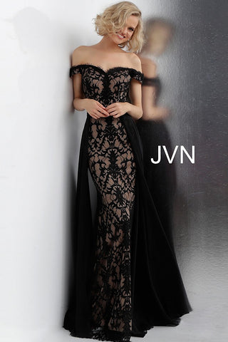 JVN62489 Black and nude lace prom dress with an off-the-shoulder fitted bodice, sweetheart neckline and half open back, floor-length fitted skirt with a pleated sheer black over-skirt.