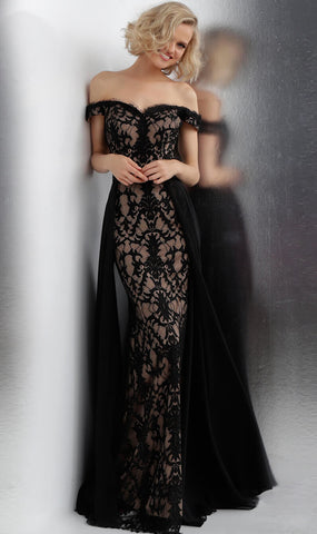 JVN by Jovani 62489 off the shoulder lace prom dress Embellished Gown 2020 Train