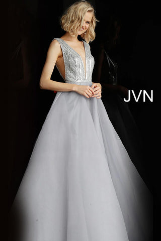 JVN by Jovani 62502 Silver Plunging neckline prom dress ball gown