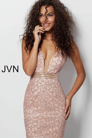 Jovani JVN 62508 is a short fitted formal wear dress with a stunning glitter accented pattern to help you shine the night away! plunging neckline leading to embellished waist belt. Open Back cocktail dress homecoming dress