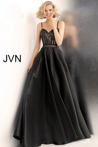 JVN62510  Black and nude beaded prom ballgown with embellished sleeveless fitted bodice, sweetheart neckline and spaghetti straps, floor length pleated a-line skirt with side pockets.