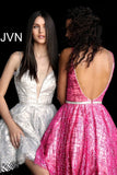 Jovani JVN 62512 Short Fit Flare Glitter Shimmer Cocktail Dress homecoming Crystal Belt