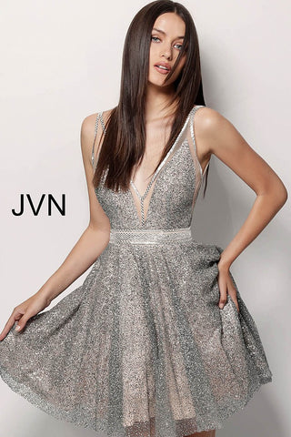 JVN by Jovani 62516 short glitter homecoming dress
