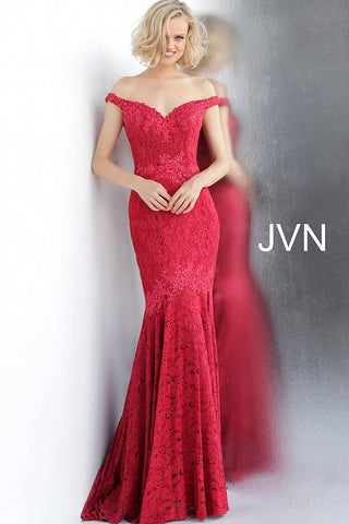 JVN62564 off the shoulder mermaid prom dress evening gown pageant dress with train red lace with red embellished lace applique