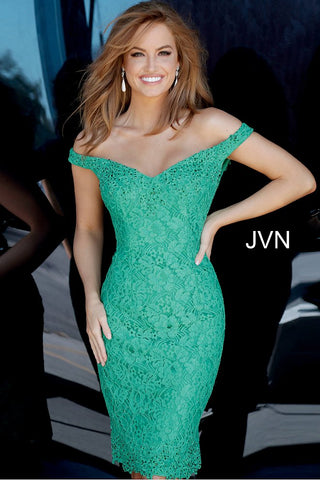 Jovani JVN 62568 off the shoulder lace short fitted cocktail dress