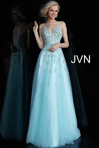 JVN by Jovani 62576 Light blue beaded bodice prom dress ball gown