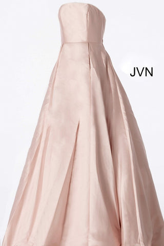 JVN62633 Blush strapless lace up corset back straight neckline pleated mikado skirt prom dress ball gown evening gown