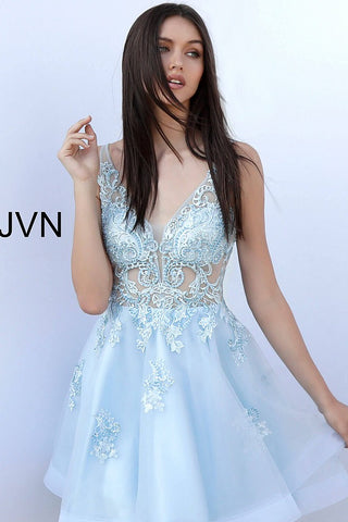 JVN by Jovani 62715 embroidered short homecoming dress
