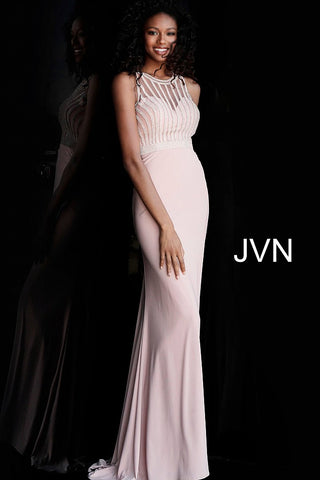 JVN by Jovani 62722 embellished high neckline long fitted jersey prom dress