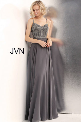 7980573f59e7 JVN by Jovani 62726 embellished bodice spaghetti straps prom dress –  GlassSlipperFormals