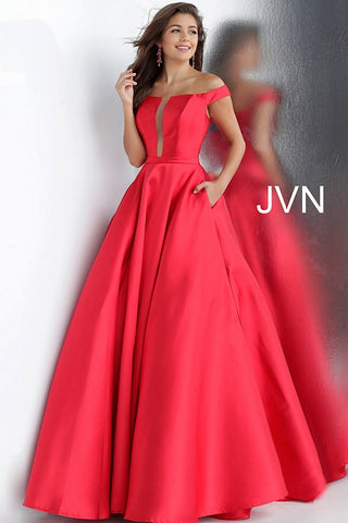 JVN by Jovani 62743 off the shoulder prom dress ball gown with pockets -