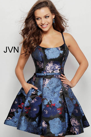 JVN by Jovani 63389 scoop neckline floral print homecoming dress