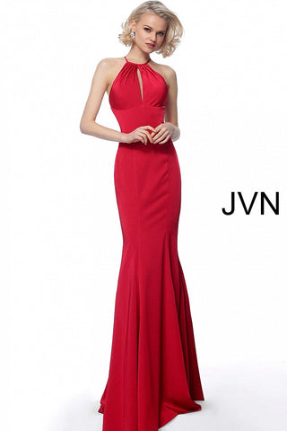 JVN by Jovani 63407 criss cross tie straps in open back prom dress