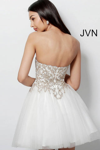 73d26f4245 ... JVN by Jovani 63635 embroidered short fit and flare homecoming dress-