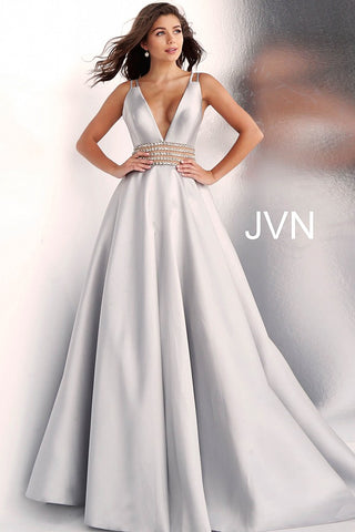 JVN by Jovani 63737 embellished waist prom dress ball gown