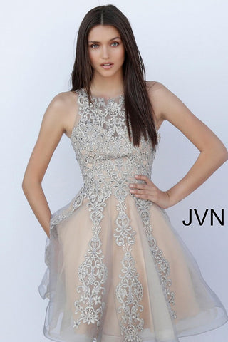 JVN63907 Grey/Nude beaded short homecoming dress with high neckline, sleeveless fitted bodice and sheer closed back, short length flared and pleated skirt featuring multiple layers. Short cocktail dress homecoming dress.