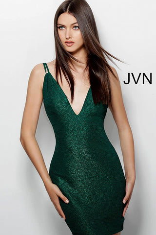 JVN by Jovani 63955 short fitted glitter homecoming dress