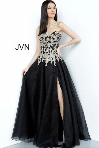 JVN64088 Sweetheart neckline embroidered bodice A line tulle prom dress evening gown with side slit