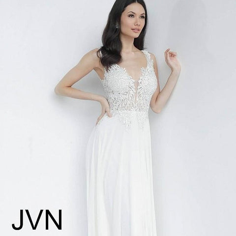 JVN by Jovani 64107 Wide straps embellished bodice prom dress