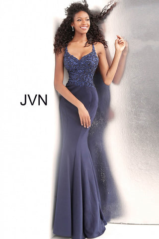 JVN by Jovani 64111 criss cross back prom dress