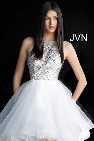 Jovani JVN 64115 Size 18 short Fit Flare Cocktail dress halter Crystal Bodice