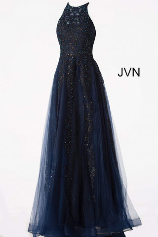 JVN64157 Embroidered tulle, embellished with heat set stones, sleeveless fitted bodice, sheer jewel neckline, sheer close back, flare A line floor length skirt prom dress.
