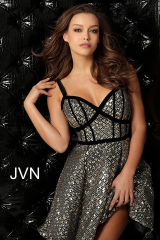 JVN by Jovani 64174 Short sequin homecoming dress
